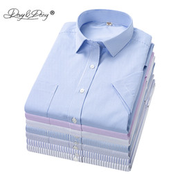 work dress shirts Australia - DAVYDAISY Plus Size 5xl 6xl 7xl 8xl Men Shirt Summer Short Sleeve Striped Shirts Causal Work Dress Shirt Brand Clothes DS334