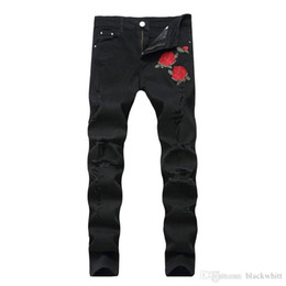 Jeans star pant new online shopping - New Men S Embroidered Roses Denim Black Hole Pants Slim Stretch Pants Causal Denim Pants Streetwear Style Runway Rock Star Jeans Co