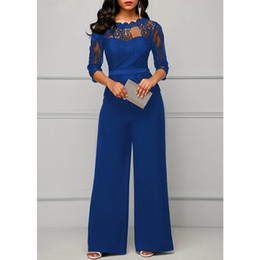 jumpsuits one leg Australia - Lace Jumpsuits For Women 2018 Autumn Sexy High Waist Palazzo 3 4 Sleeve One Piece Peplum Rompers With Long Wide Leg Pant Y19060501