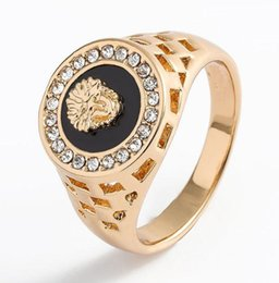 animal rings lions UK - Men Women Sphinxes Rings Jewelry - Gold Silver Colors Lion Crystal Rhinestone Alloy Rings US Size 6-14
