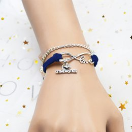 Unisex Simple Bracelet Chain Australia - New Classic Style Royal Blue Leather Suede Chain Charm Bracelet Simple Infinity Love I Heart Gymnastics Accessories Hand-woven Jewelry Gifts