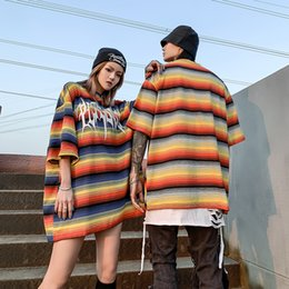 Wholesale color block t shirts for sale – custom Rainbow Striped Color Block Summer Tshirts Men and Women Cotton Oversized Streetwear T Shirt Short Sleeve Loose T shirt