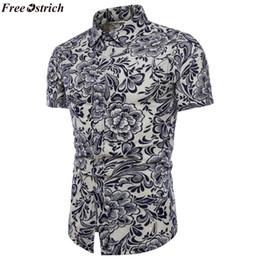 fd60ff19dda FREE OSTRICH Mens Beach Hawaiian Tropical Summer Short Sleeve Shirt Men  Brand Casual Loose Cotton Button Down Shirts Plus Size