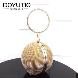Venta al por mayor de DOYUTIG Bolso de noche de diamantes de imitación de la bola redonda de las mujeres de lujo Shining Crystal Day Bolsos de embrague Mujer Crossbody para la fiesta A151 # 329680
