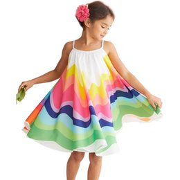 dresses contrast girls 2019 - 2019 Toddler Colorful Dress Kid Baby Girl Summer Clothes Sleeveless Dress Rainbow Party Children Holdiay Beach Sunress B