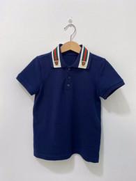 venda por atacado Collar Polo Verão Cotton Crianças Meninos Sprots camisas de algodão lapela Odile Tecido do T da forma Roupa Crianças