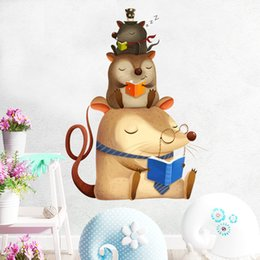 $enCountryForm.capitalKeyWord NZ - Lovely Three Mice Reading Book Mouse Wall Sticker Removable Vinyl Art Wall Decals Baby Nursery Room Decal Decoration