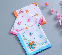 Wholesale Floral Cutters Australia - 100% Cotton Handkerchief Cutter Ladies Handkerchief Craft Vintage Hanky Floral Wedding Handkerchief 30*30cm Random Color SN1900