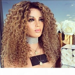 baby curly unprocessed lace wig NZ - Kinky Curly Ombre Lace Wig 1B #30 Full Lace Wigs Human Hair 8A Unprocessed Brazilian Lace Front Wigs Baby Hair For Black Women
