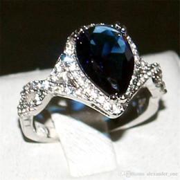 $enCountryForm.capitalKeyWord Australia - Bohemian Jewelry Delicate Pear-Shaped Deep-Blue Diamond cz Ring Finger Fashion 10KT White Gold Filled Wedding Bride rings For Women gift