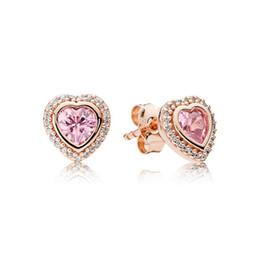 Gold Stone Studs UK - Pink stone CZ Diamond Heart Stud Earring Original Box Set for Pandora 925 Silver 18K Rose gold Earrings Women Gift