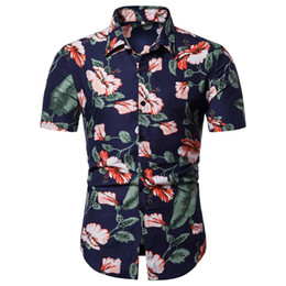 Wholesale hawaii shirt resale online - Fashion Mens Blouse And Tops Shirts Mens Summer Casual Beach Button Printed Short Sleeve Tops Hawaii Blouse