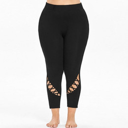 Wholesale 2018 TOP Women Girl Plus Size Mid Waist Solid Hollow Out Elastic Sports Pants Trousers For Yoga Running Sports leggings