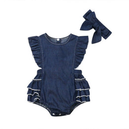 Cool Baby Clothes UK - baby girl clothes Toddler Baby Girl Denim Ruffle Romper Bodysuit Jumpsuit Sunsuit Outfit Summer cool clothing set 2pcs 0-24M