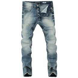 China 2019 Italian Style Fashion Men's Jeans Blue Color Slim Fit Cotton Classical Jeans Casual Pants Brand Designer Buttons Men cheap italian designer jeans suppliers