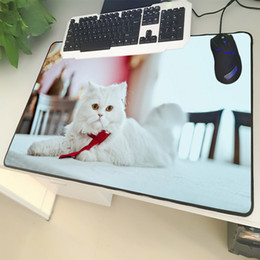 large photo sizes 2019 - XGZ Animal Large Size Mouse Pad Lock Cute White Persian Cat Photo Laptop Black PC Table Mat Rubber Universal Non-slip ch