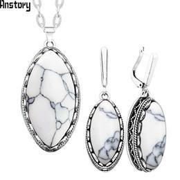 Eye Shaped Pendants Australia - Fashion Jewelry Sets Eye Shape Stone Necklace Earrings Jewelry Set For Women Stainless Steel Chain Hollow Flower Pendant Fashion Gift TS276