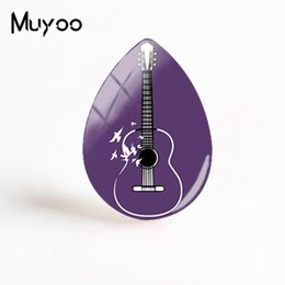 handmade guitars UK - 2019 New Abstract Guitar Cabochon Musical Instrument Fantasy Painting Tear Drop Cabochons Handmade Jewelry Gifts Women