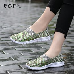 green flats NZ - EOFK Summer Breathable Women Loafers Woven Shoes Handmade Elastic Woven Flat slip on Shiny Green Nylon Shoes Woman LY191202