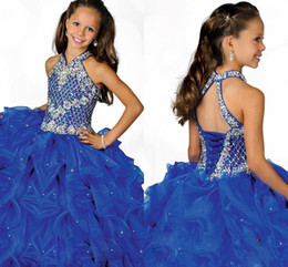 $enCountryForm.capitalKeyWord Australia - Glamorous Royal Blue 2019 Halter High Neckline Girls Pageant Dress Beaded Straps Beading Little Pleated Blue Organza Flower Girls Dress