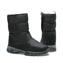 Male style boots online shopping - 2019 big size men boots black winter shoes male size snow boot warm fur insole Rubber out sole Buckle man style