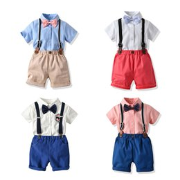 Boy Beige vest online shopping - Kids Clothing Sets Boys Solid Shirt Short Straps Pants Single Breasted Ceremonial Clothes England Style Gentleman Three Piece And Above Summ