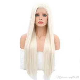 high heat resistant wigs UK - High Temperature Fiber Glueless Brown Roots To Light Blond Silky Straight Heat Resistant Daily Synthetic Front Lace Wig with Baby Hair