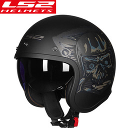motorcycle helmet face shields Australia - LS2 OF599 Vintage Motorcycle Helmet women man open face retro scooter moto helmet with sun shield motorbike helmets