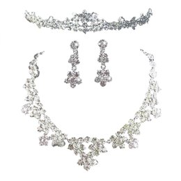 earring pieces NZ - Three-Piece Set Crystal Rhinestone Elegant Tiara Neckalce Earrings Jewelry Set For Wedding Bridal Shower Engagement Party