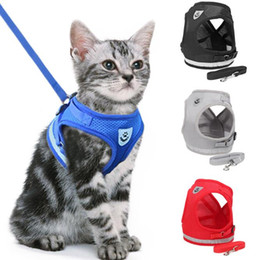 $enCountryForm.capitalKeyWord Australia - Cat Dog Adjustable Harness Vest Walking Lead Leash For Puppy Dogs Collar Polyester Mesh Harness For Small Medium Dog Cat Pet