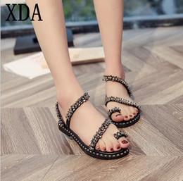 c174e746d XDA Women Flat Shoes Crystal Gladiator Sandals Women Bling string beads Summer  Beach Sandals Casual Ladies roman A473