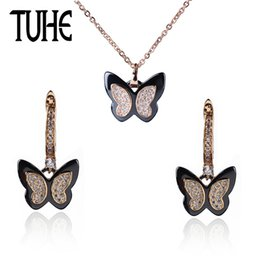 $enCountryForm.capitalKeyWord Australia - Elegant Vintage Rose Gold Butterfly Jewelry Set For Women Best Gift With Shining Crystal Black Ceramic Fashion Christmas Jewelry