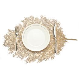 Ingrosso Placemat per tavolo da pranzo sottobicchieri foglia simulazione pianta pvc tazza tavolino tavolino scava fuori cucina cucina casa decorazione regali