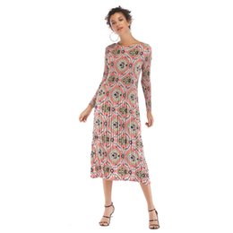 27382165ef9 Long section with porcelain flower dress waist slimming chiffon 2019 new fashion  sexy European and American women s adult clothing P205