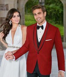 Images Fashionable Suits Australia - Fashionable One Button Groomsmen Shawl Lapel Groom Tuxedos Men Suits Wedding Prom Dinner Best Man Blazer(Jacket+Pants+Tie+Vest) 512