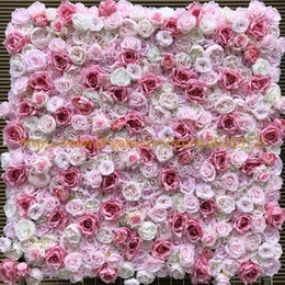 wholesale roses plants Australia - 12pcs lot Artificial Flower Wall Wedding Background Very Light Dark Rose Peony Lawn Pillar Fake Flower Plate Road Lead Home 3D