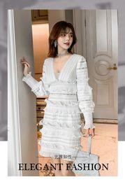 $enCountryForm.capitalKeyWord Australia - 2019 spring tide brand sexy dress lace stitching retro ladies small fragrance style Slim temperament package hip white skirt