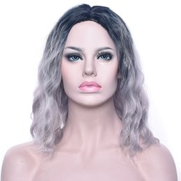 Light bLue cospLay wig short online shopping - Cosplay Wigs Curly Short Synthetic Hair Party Hair Black Blonde Pink Brown Wig Hairpiece For Women Black To Gray