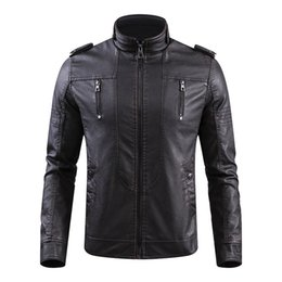 $enCountryForm.capitalKeyWord UK - Tang cool brand Faux Leather Jacket Men Vintage Biker PU Leather Jackets 2019 Winter Warm Fashion Bomber Pilot Coats