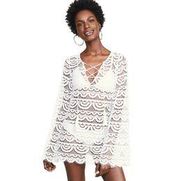 $enCountryForm.capitalKeyWord NZ - Beach Cover Up Woman Kimono Coverups For Women Kaftan White Dress Ups Swimsuit Plus Size New Eyelash Lace Strap Design Big Yards
