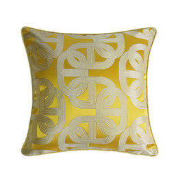 $enCountryForm.capitalKeyWord Australia - Contemporary Yellow Geometric Interior Decorative Pillow Case Square Floor Sofa Chair Home Deco Jacquard Woven Bedding Cushion Cover 45x45cm