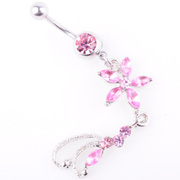 Black ring pink diamonds online shopping - D0137 colors Nice style Navel belly ring PINK color piercing body jewelry stone drop shipping