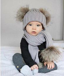 $enCountryForm.capitalKeyWord Australia - New Autumn Winter Baby Kids Faux Fur Ball Knitted Hat Scarf Set Children Knitwear Beanie Skull Cap Scarf 15174