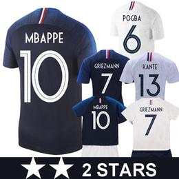 2018 GRIEZMANN MBAPPE 2 estrelas Camisola De Futebol POGBA KANTE DEMBELE VARANE MATUIDI Camisas de futebol crianças mulheres kit maillot de pé