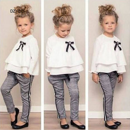 Cute Spring Shirts Australia - Spring Autumn Baby Girl Ruffle Bow Boutique Set Clothes Fashion Kid T Shirt Top+Plaid Trouser 2PC Suit Children Cute Outfit Tracksuit