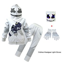 $enCountryForm.capitalKeyWord NZ - Marshmello DJ Music Outfit For Big Boy Girl Sport Suit Halloween Children Mash+Hooded Jacket+Trouser Set Fornite Kid Boutique Tracksuit