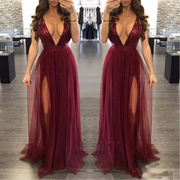 deep burgundy evening dresses Australia - 2019 Sexy Burgundy V-neck Sequined Evening Formal Dress 2019 Deep V-neck Prom Dress Soft Tulle Split Party Dresses Custom Made Cheap