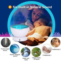baby starry night light Canada - Ocean Wave Starry Sky LED Projector Night Light With USB 7 Color Baby Sleep Night Light Built-In Music Player Bedroom Kids Lamp