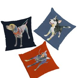Wholesale Funny Husky Pilloecase Teddy Pet Murder Boston Terrier Cushion Cover X45Cm Peach Skin Decorative Yoga Chair Custom Pillowcase
