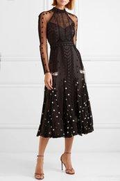 Milan Runway Dress 2019 Primavera Stand Collar manga larga bordado de impresión con paneles de tul Sheer diseñador vestido de la marca vestido del mismo estilo 010502